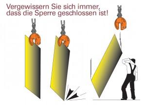Hebeklemmen Warnhinweis Dolezych